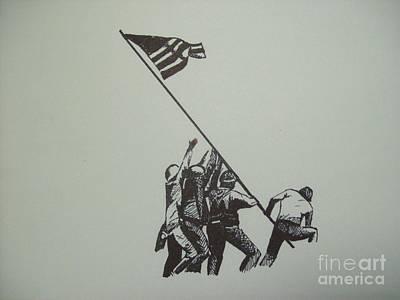 Iwo Jima Drawing - Raising At Iwo Jima by Jared Hester