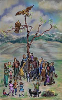 Drawing - Raising The Eagle's Tree - Dream Series 3 by Dawn Senior-Trask