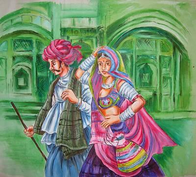 Rajasthani Couple Original by Ruta Sawant