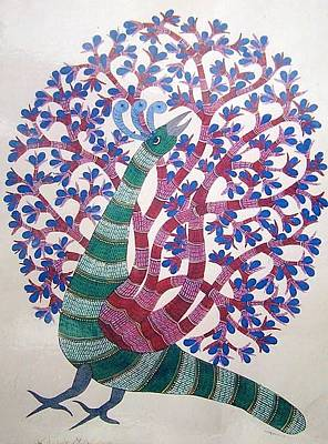 Gond Art Painting - Raju 55 Tree Of Life by Rajendra Shyam