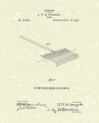 Outdoors Drawing - Rake Design 1897 Patent Art by Prior Art Design