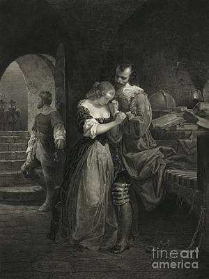 Ladies In Waiting Photograph - Raleigh Parting With Wife, 16th Century by Photo Researchers