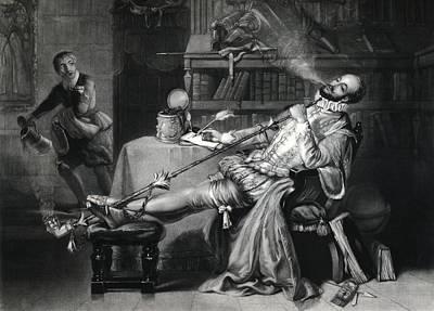 Raleigh Smoking Tobacco, 16th Century Art Print