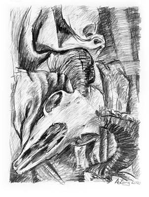 Still Life Drawings - Ram skull still-life by Adam Long
