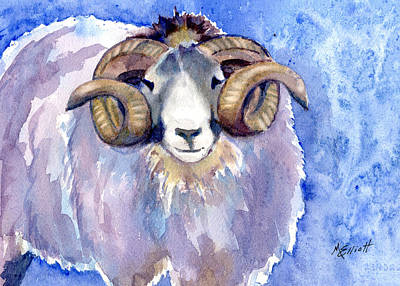 Sheep Painting - Rambo by Marsha Elliott