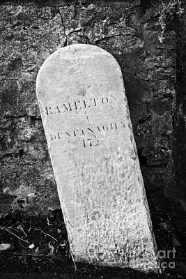 Ramelton Dunfanaghy Old Country Milestone Showing Distance In Irish Miles County Donegal Print by Joe Fox