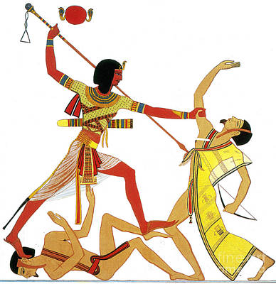 Ramesses II Impales Libyan Enemy, 12th Art Print by Photo Researchers