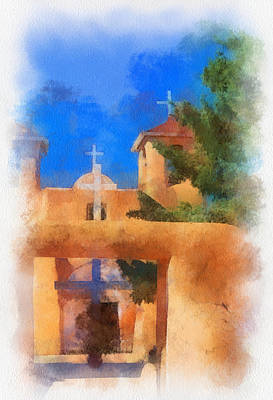 Digital Art - Ranchos Church Gate - Aquarell by Charles Muhle