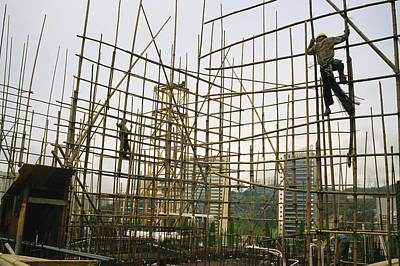 Rare Bamboo Scaffolding Used In Hong Art Print by Justin Guariglia