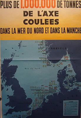 Rare Wwii French War Poster Plus De 1000000 Tonnes Original