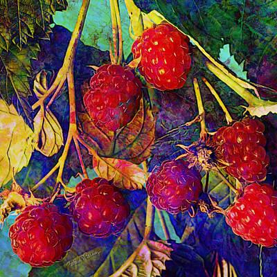 Digital Art - Raspberries by Barbara Berney
