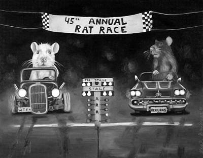 Rat Race Black And Wht Darker Tones Art Print by Leah Saulnier The Painting Maniac