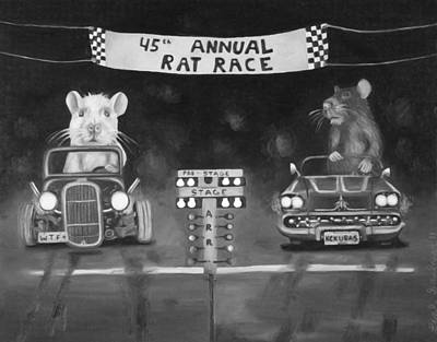 Nascar Painting - Rat Race In Black And White by Leah Saulnier The Painting Maniac
