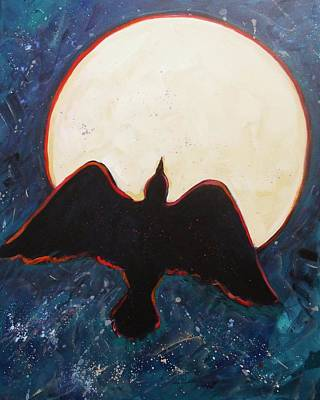 Raven And Bright Moon Art Print by Carol Suzanne Niebuhr