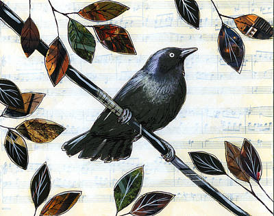 Magpies Mixed Media - Raven Melody by Amy Giacomelli