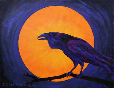 Raven Moon Art Print by Janet Greer Sammons