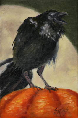 Raven Moon Art Print by Linda Eades Blackburn