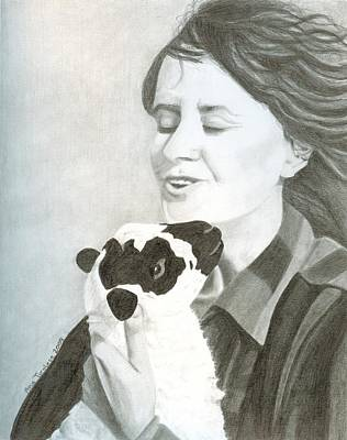 Print featuring the drawing Raven O'keefe And Minnie by Ana Tirolese
