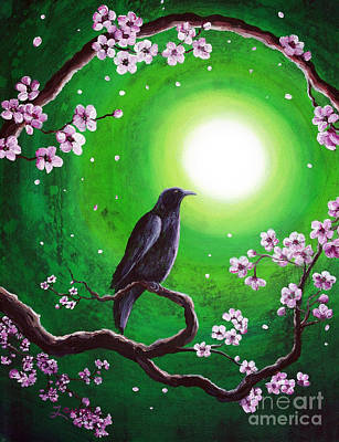 Sakura Painting - Raven On A Spring Night by Laura Iverson