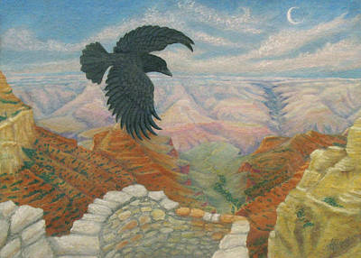 Raven Over The South Rim  Art Print by Marcia  Perry