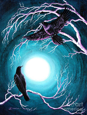 Painting - Ravens On A Winter Night by Laura Iverson