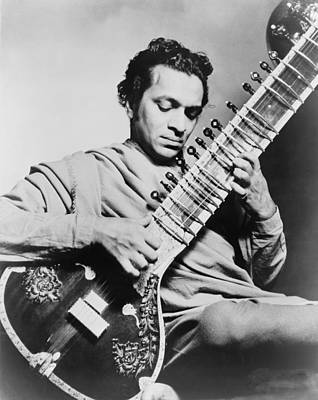 Ravi Photograph - Ravi Shankar B. 1920, Playing by Everett