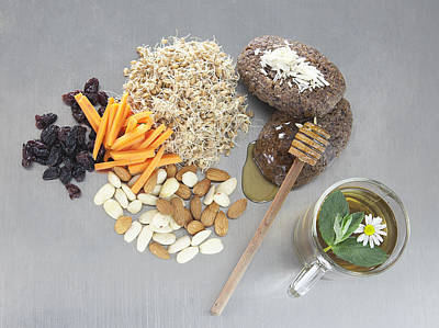 Y120831 Photograph - Raw Vegetables, Honey, Nuts, And Sprouts by Laurie Castelli