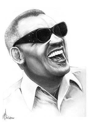 Famous People Drawing - Ray Charles by Murphy Elliott