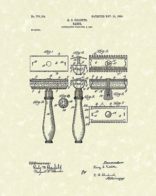 Drawing - Razor 1904 Patent Art by Prior Art Design