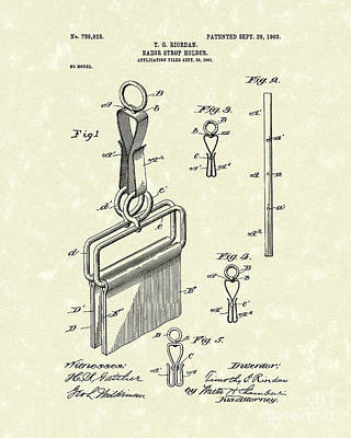 Drawing - Razor Strop Holder 1903 Patent Art by Prior Art Design