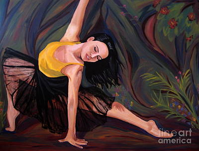 Ballet Painting - Reaching In The Forest by Rachelle Dyer