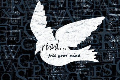 Read Mixed Media - Read Free Your Mind Teal by Angelina Vick