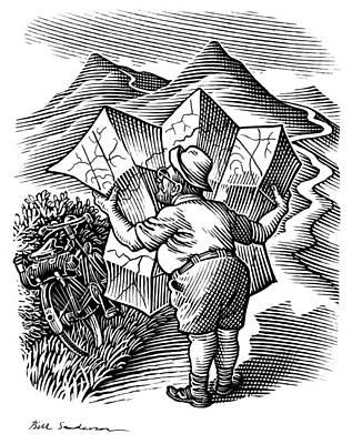 Reading A Map, Artwork Art Print by Bill Sanderson