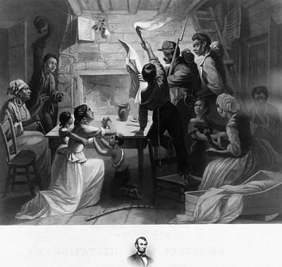 Reading Emancipation Proclamation Art Print by Photo Researchers