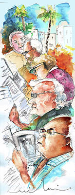 Caricature Portraits Drawing - Reading The News 07 by Miki De Goodaboom