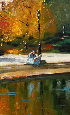 Reflection Painting - Reading The Paper by Ylli Haruni