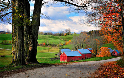 New England Fall Foliage Photograph - Reading Vermont - Jenne Road by Thomas Schoeller