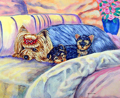Yorkshire Terrier Puppy Painting - Ready For Bed - Yorkshire Terrier by Lyn Cook