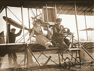 Senorita Photograph - Ready For Takeoff 1912 Sepia by Padre Art
