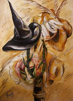 Whimsical Painting - Real Women Wear Many Hats by Karen  Ferrand Carroll