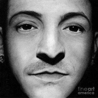 Linkin Park Drawing - Realistic Pencil Drawing Of Chester Bennington Linkin Park by Debbie Engel