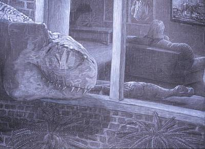 T Rex Drawing - Reality Fiction by David Pry