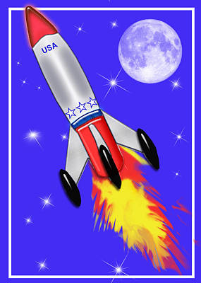 Education Painting - Really Cool Rocket In Space by Elaine Plesser