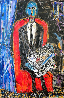 Recalling The Portrait Of An Unknown Man Reading A Newspaper Chevalier X By Andre Derain Art Print by Eria Nsubuga