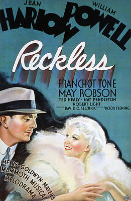 Reckless, William Powell, Jean Harlow Art Print by Everett