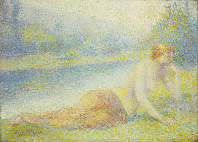 Pointillist Painting - Reclining Nude by Hippolyte Petitjean