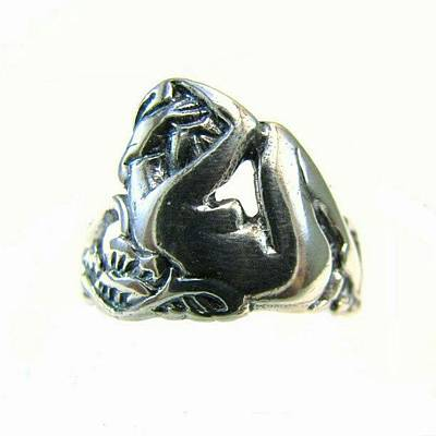 Reclining #nude #sterling #ring - Part Art Print