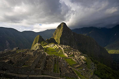 Reconstructed Stone Buildings On Machu Art Print by Michael Melford