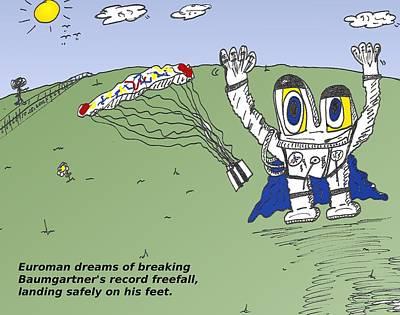 Financial Mixed Media - Record Freefall Euroman Cartoon by OptionsClick BlogArt