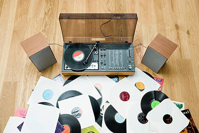 Records Lying On Floor By 1970?s Stereo System Art Print by Jorg Greuel